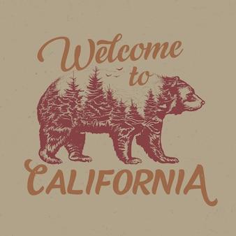 Benvenuti nel design dell'etichetta della maglietta della california con illustrazione della sagoma dell'orso.