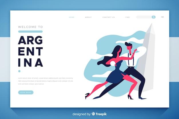 Benvenuti nel design piatto della landing page in argentina