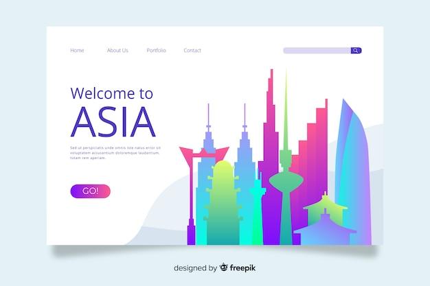 Benvenuti nel modello di landing page in asia