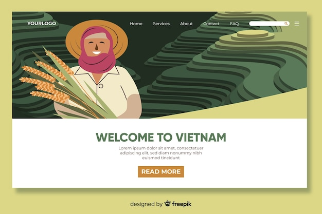 Benvenuti nel modello di pagina di destinazione del vietnam