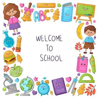 Benvenuti nella cornice della scuola con materiale scolastico kawaii e simpatici personaggi dei cartoni animati: bambini, libri, matite