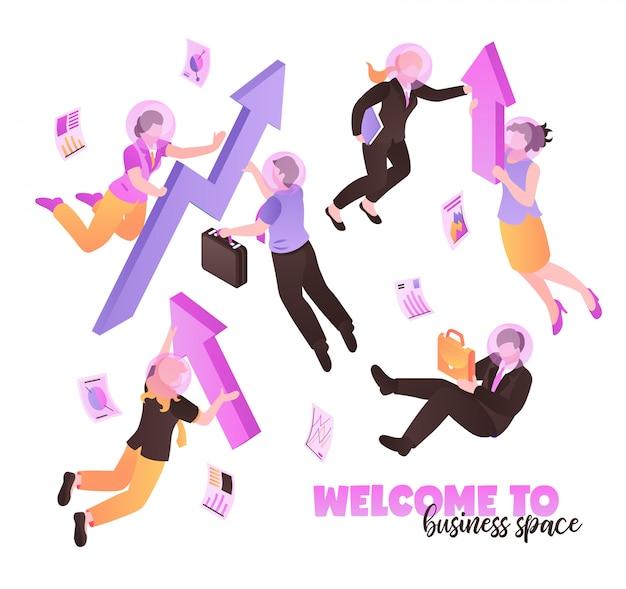 Benvenuti nello spazio aziendale bianco con persone che tengono cartelle e cartelle e volano in gravità zero isometrica