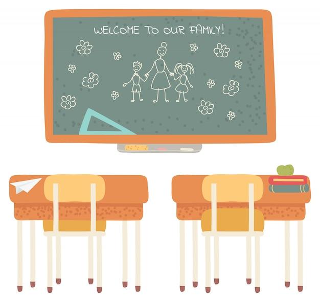 Benvenuto a scuola, lavagna con aula da scrivania