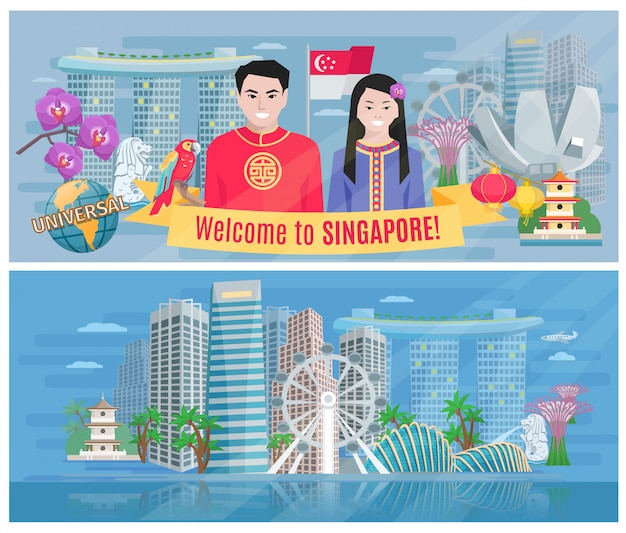 Benvenuto al manifesto piano delle bandiere di singapore 2 con la baia di marina e il vettore astratto del distretto aziendale