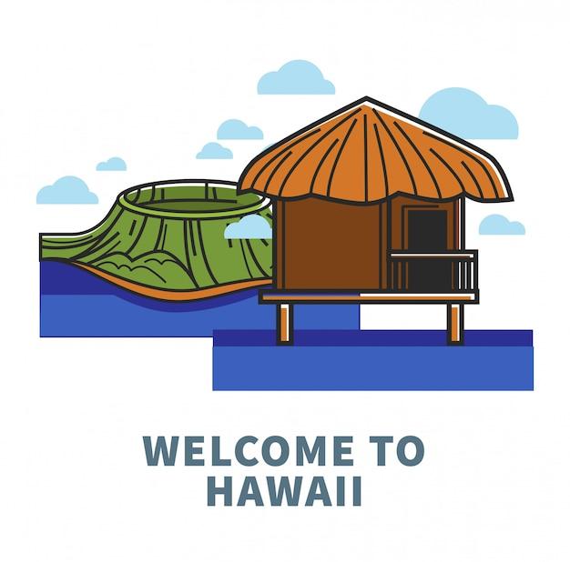 Benvenuto al poster promozionale delle hawaii con la natura e il bungalow