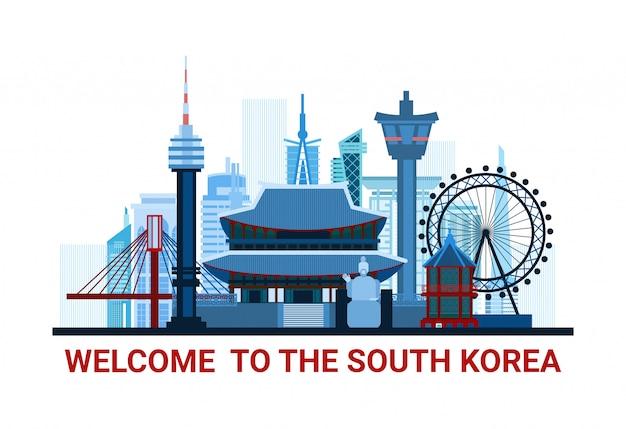 Benvenuto all'illustrazione della corea del sud con la siluetta famosa dei punti di riferimento nazionali isolata
