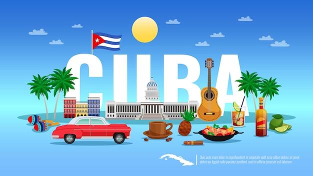 Benvenuto all'illustrazione di cuba con l'illustrazione piana di vettore degli elementi di festa e della località di soggiorno