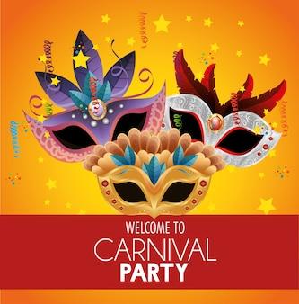 Benvenuto, carnevale, festa, brillante, maschere, piume, stelle, confetti, bandiera