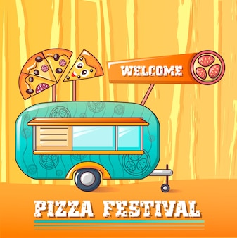 Benvenuto concetto di festival della pizza, in stile cartone animato
