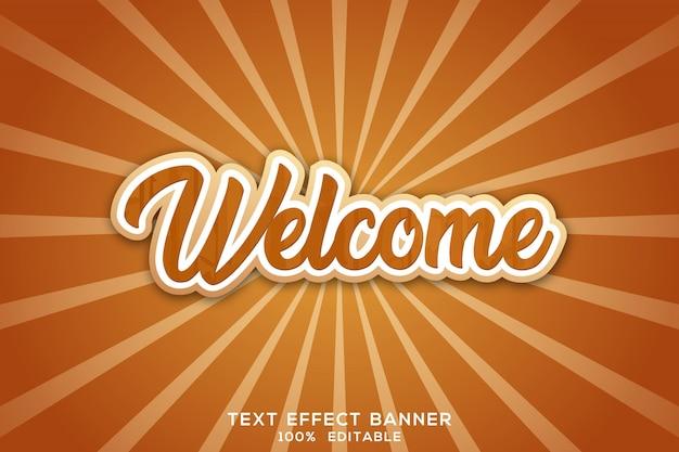 Benvenuto dell'insegna del testo di logo 3d