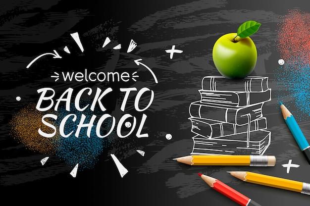 Benvenuto di nuovo allo scarabocchio della scuola sul fondo nero della lavagna ,.
