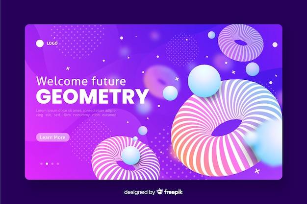 Benvenuto futura pagina di destinazione geometrica 3d