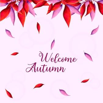 Benvenuto in colori caldi autunnali con foglie che cadono ad acquerello