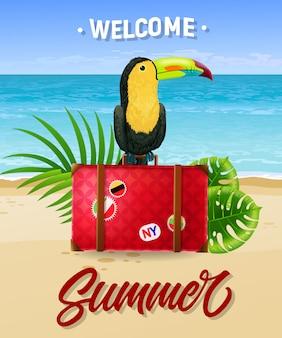 Benvenuto lettering estate con spiaggia mare, valigia e tucano.