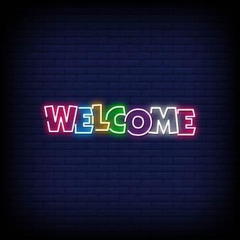 Benvenuto lettering insegne al neon