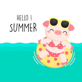 Benvenuto maiale carino estate erano bikini e nuotano ring cartoon.