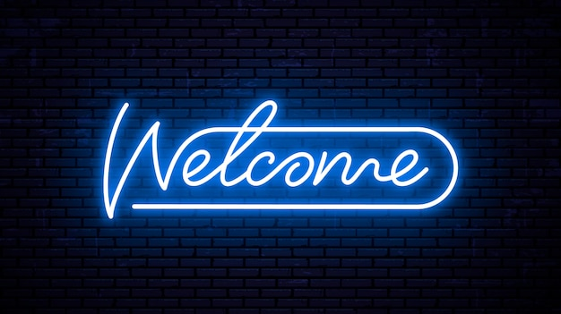 Benvenuto - modello di iscrizione per insegna al neon. testo incandescente sul muro.