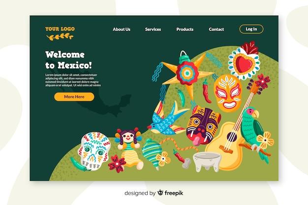 Benvenuto nel design piatto della pagina di destinazione del paese