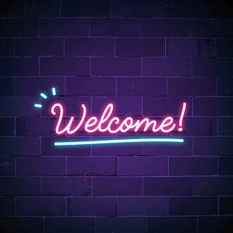 Benvenuto nel vettore del segno al neon