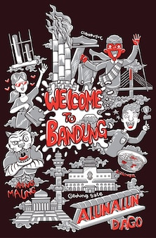 Benvenuto nell'illustrazione della città di bandung