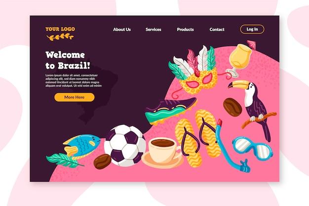 Benvenuto nella pagina di destinazione colorata del brasile