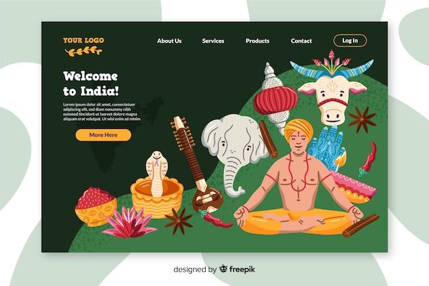 Benvenuto nella pagina di destinazione colorata dell'india