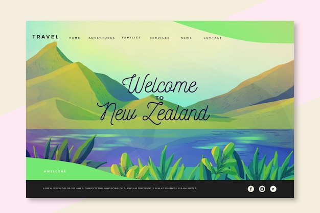 Benvenuto nella pagina di destinazione della nuova zelanda