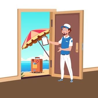 Benvenuto per viaggiare vettore con l'illustrazione del responsabile del turismo