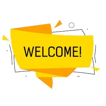 Benvenuto scritta in bolla di discorso giallo origami con triangoli.