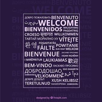 Benvenuto sullo sfondo della composizione in diverse lingue