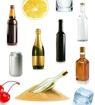 Bere alcol in bottiglia, set di icone