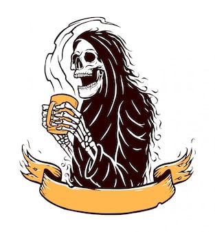Bere caffè illustrazione