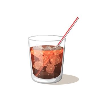 Bere cola in una tazza di vetro con ghiaccio con bastoncini