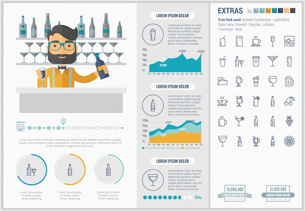 Bere design piatto infografica modello e set di icone