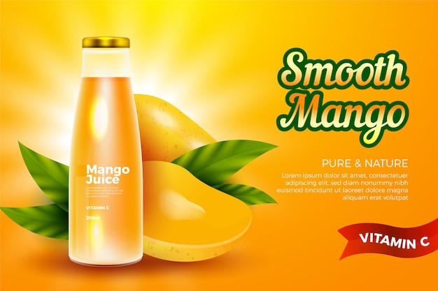 Bere modello di annuncio per il succo di mango