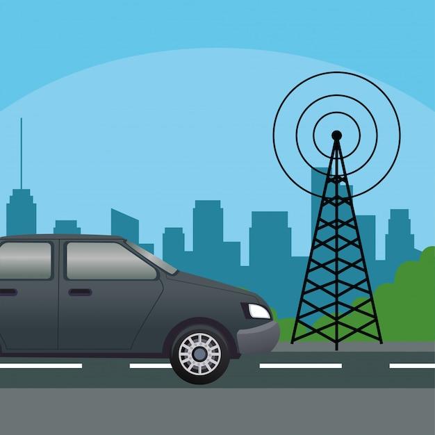 Berlina nera con antenna per telecomunicazioni