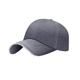 Berretto da baseball in denim nero con ombra, cappello uniforme, stile 3d realistico