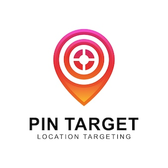 Bersaglio moderno pin o logo targeting per località, logo mappa, logo marketing aziendale