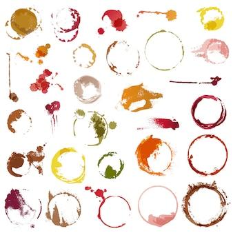 Beva i cerchi di macchiatura di vettore delle macchie dell'insieme dell'illustrazione della tazza di caffè o del bicchiere di vino