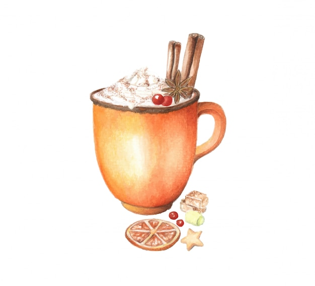 Bevanda calda di inverno di vettore dell'acquerello