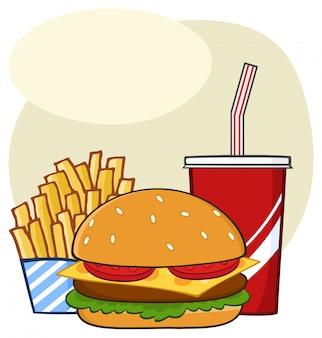 Bevanda dell'hamburger degli alimenti a rapida preparazione e progettazione semplice del disegno del fumetto delle patate fritte
