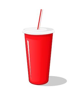 Bevanda della cola in una tazza di cartone rossa del vaso di plastica con le bacchette isolate