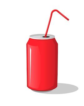 Bevanda della cola in una tazza rossa della bottiglia della banca del metallo con i bastoni