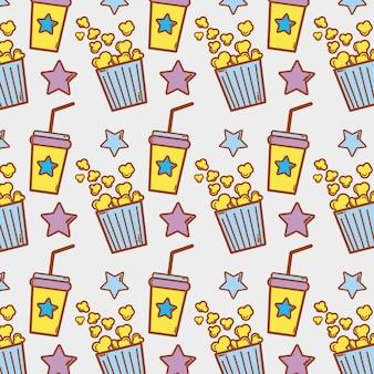 Bevanda di soda e popcorn sullo sfondo del cinema