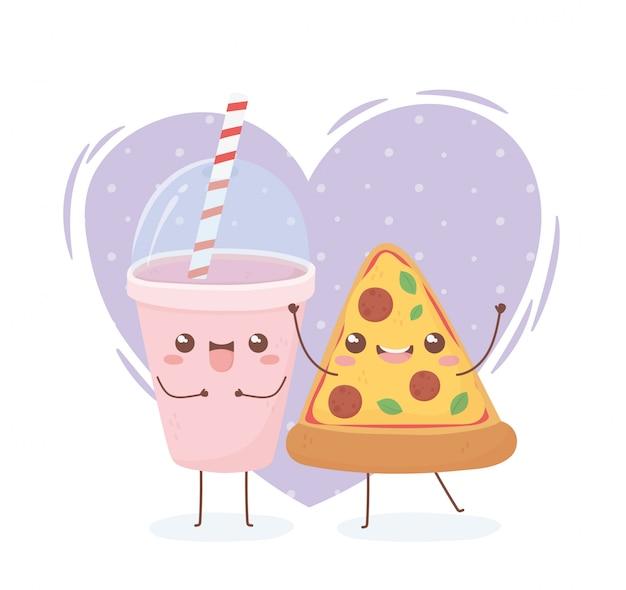 Bevanda e pizza kawaii cibo personaggio dei cartoni animati