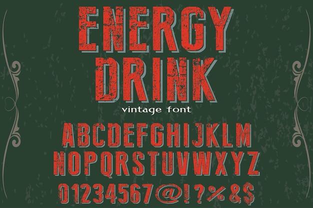Bevanda energetica di design etichetta retrò tipografia