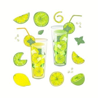 Bevanda estiva alla frutta. limonata e mojito versati in diversi piatti. limone e lime tagliati a fette diverse.