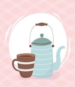 Bevanda fresca di tempo del caffè, teiera e tazza di caffè