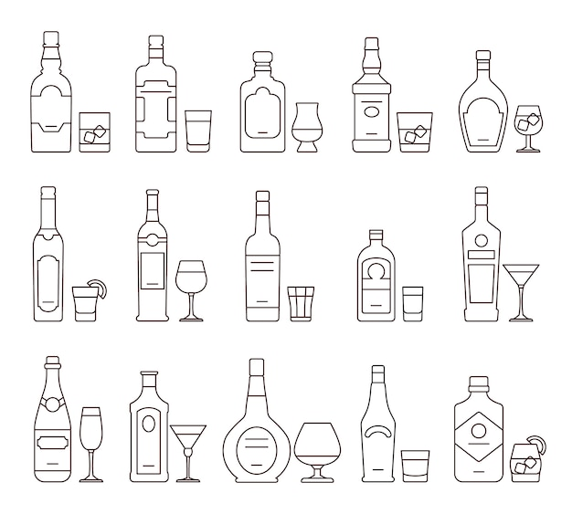 Bevande alcoliche delineano icone icone, bottiglie e bicchieri simboli di linea sottile