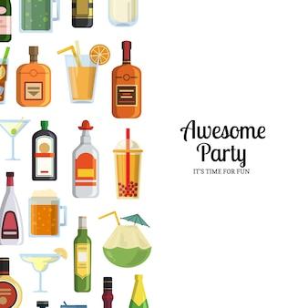 Bevande alcoliche in bicchieri e bottiglie